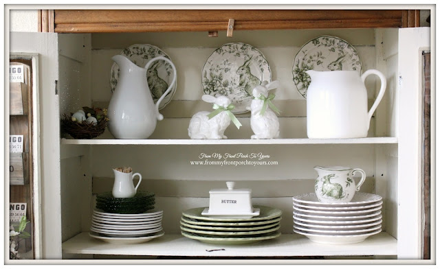 Green Toile -Transferware-Farmhouse-Kitchen-Breakfast-Nook-Farmhouse-Table-From My Front Porch To Yours