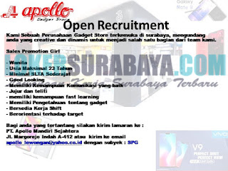Open Recruitment PT. Apollo Mandiri Sejahtera Surabaya Oktober 2018