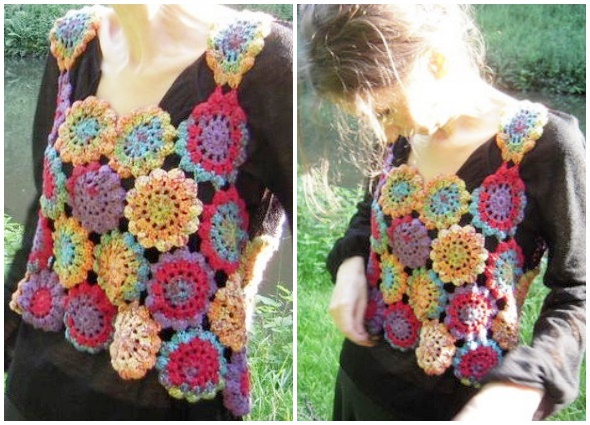 top, crochet, top grannys, flores japonesas, tutorial