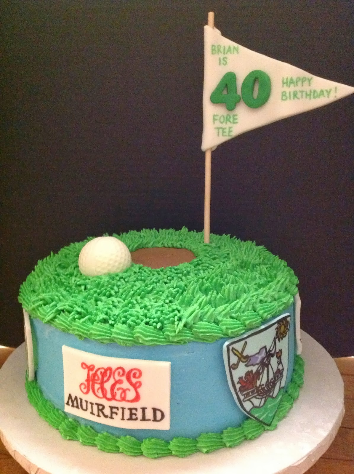 Golf Themed 40th Birthday Cake