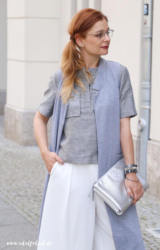 die Edelfabrik, Look, weiße Culottes, silberne Clutch von Pippa&Jean