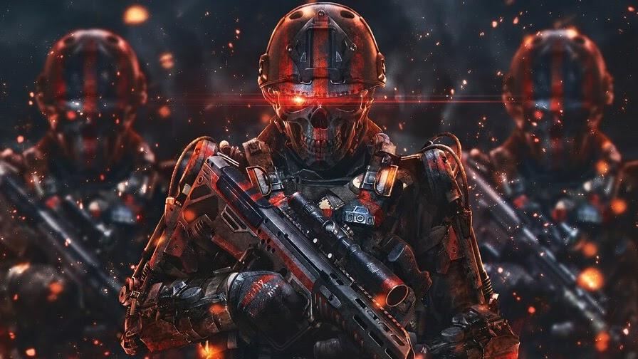 Skull, Soldiers, Sci-Fi, 4K, #6.769