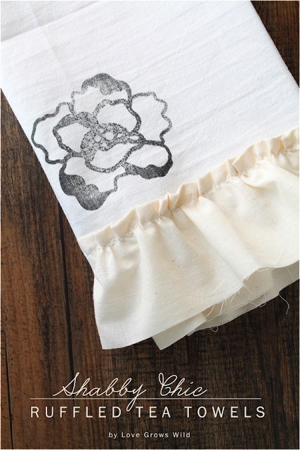 Give ordinary tea towels a gorgeous shabby chic look with stamps and ruffles! These would make perfect gifts! LoveGrowsWild.com