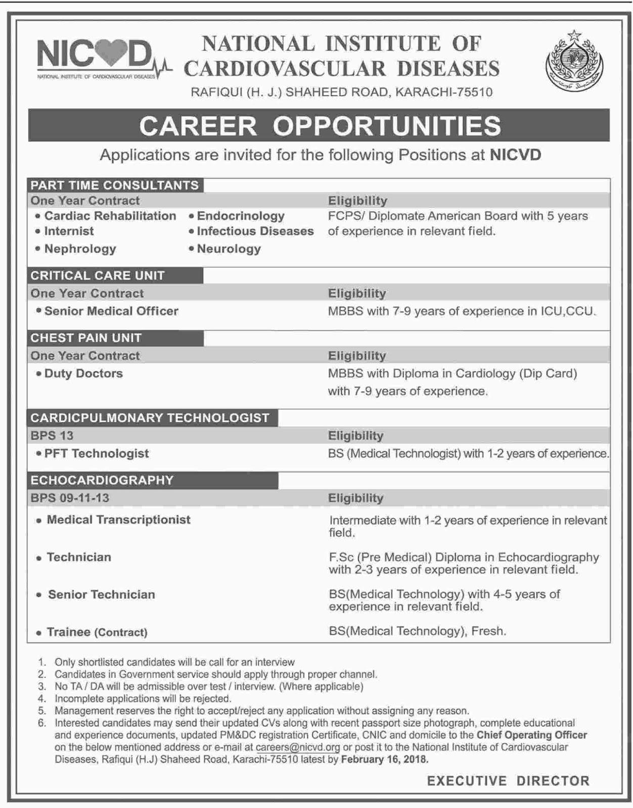 Jobs In National Institute Of Cardiovascular Diseases Karachi February 2018 - Kawish Newspaper