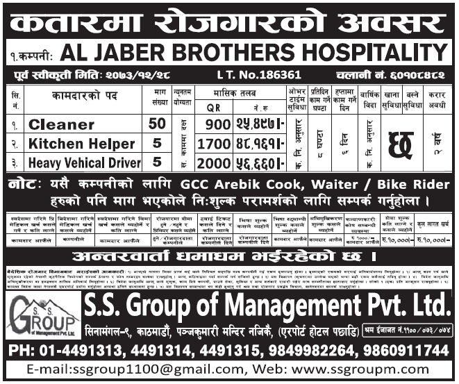 Jobs in Qatar for Nepali, Salary Rs 56,660