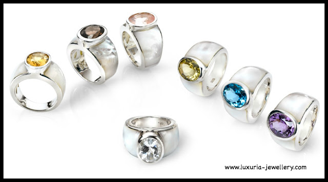 gemstone rings, mother of pearl, silver, European jewellery, European Jewelry