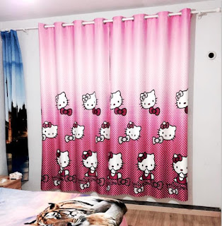 Gambar Gorden Hello Kitty Warna Pink 3