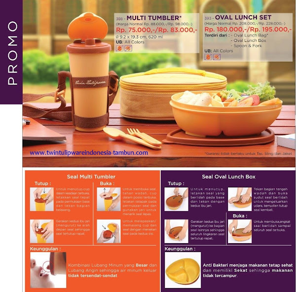 Promo Diskon Tulipware April 2017, Multi Tumbler, Oval Lunch Set