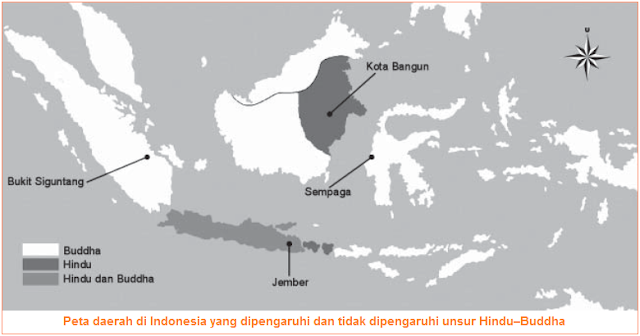 Peta daerah di Indonesia yang dipengaruhi dan tidak dipengaruhi unsur Hindu–Buddha