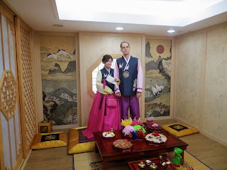 Traditional Korean wedding ceremony at wedding hall - normal hanbok