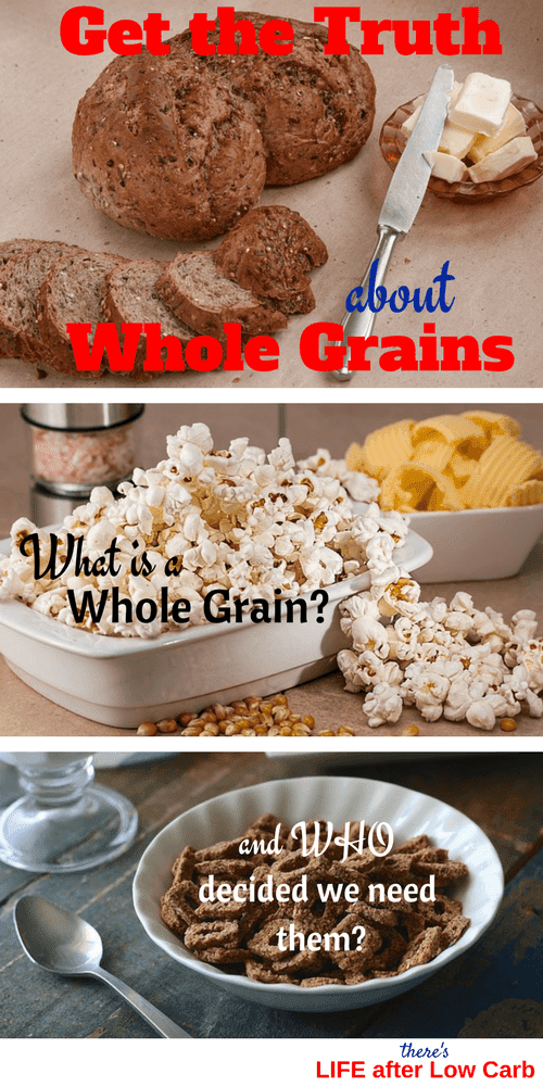 Pinterest Image: Whole grain bread, popcorn, and whole grain cereal