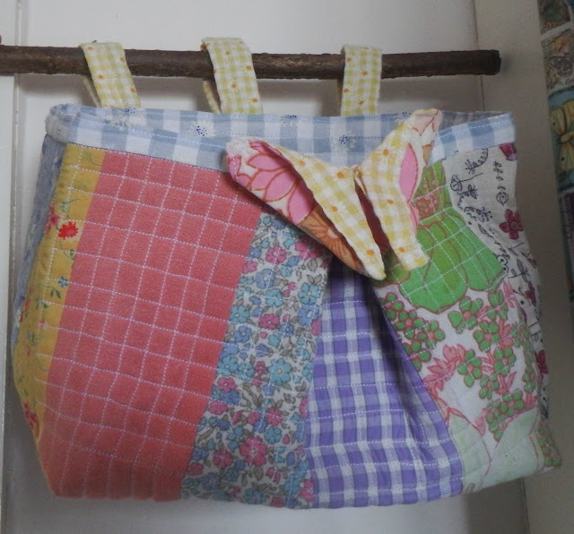 Cockerels Are Scattered All Over This Fabric Made From: Wonky Patchwork: Small, Hanging, Patchwork Fabric Basket