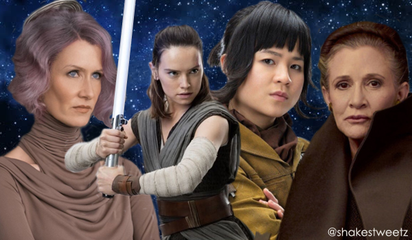 compilation image created by me of four women of Star Wars on a starry space background: Laura Dern as Vice Admiral Holdo; Daisy Ridley as Rey; Kelly Marie Tran as Rose Tico; and Carrie Fisher as General Leia