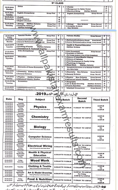 BISE Multan 9th Class Date Sheet 2019