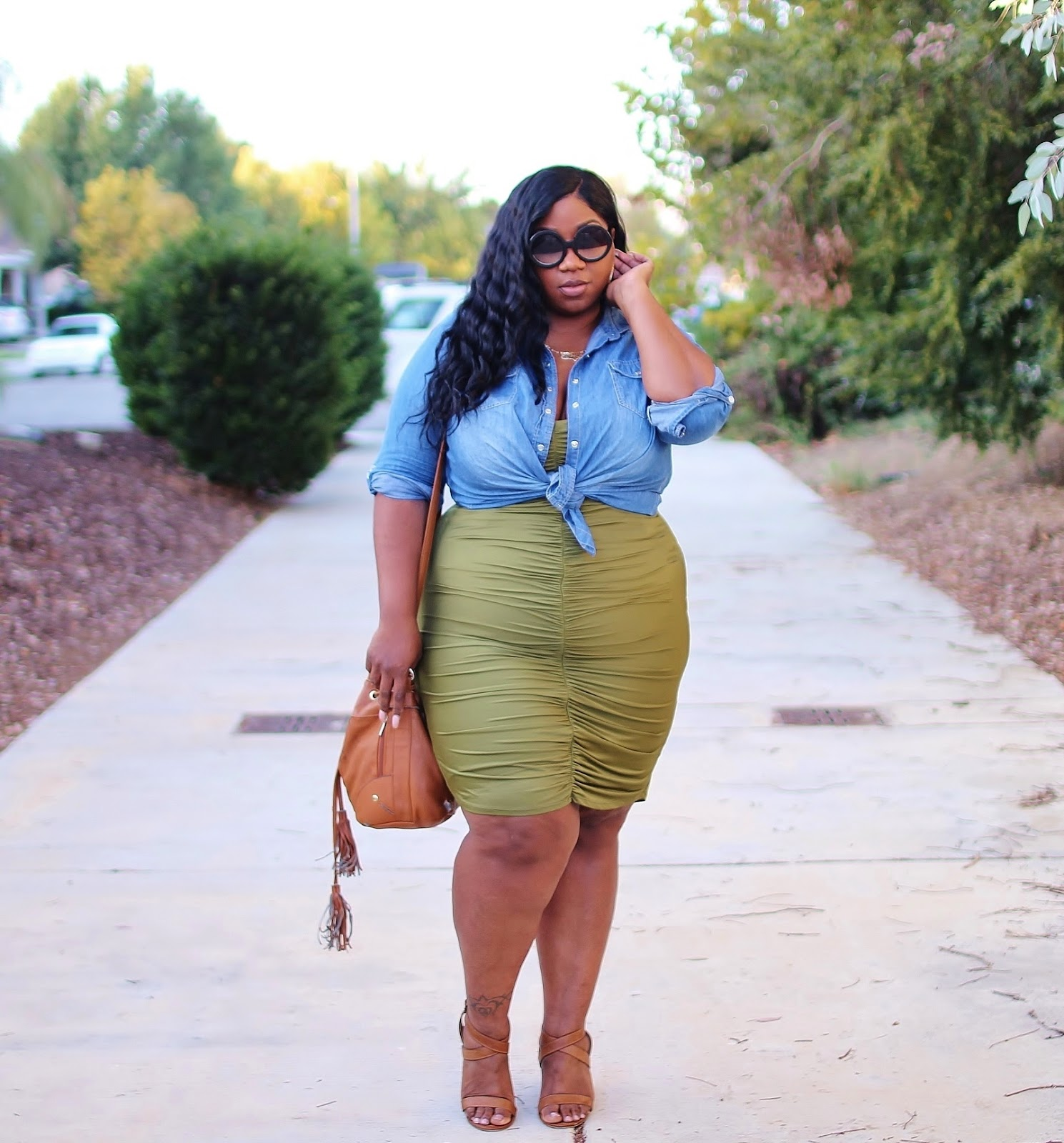 fall outfit with olive green dress