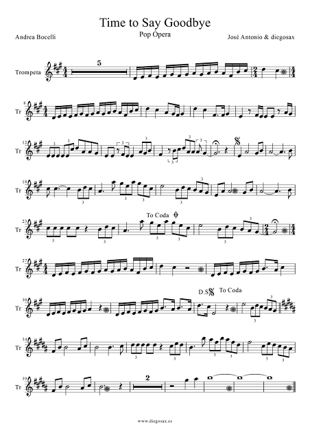 Partitura de Time To Say Goodbye para Trompeta y Fliscorno  Hora de decir Adios (Timeless) de Sarah Brightman, Andrea Bocelli y José Cura Trumpet y Flugelhorn Sheet Music Time To Say Goodbye music score. Puedes tocar la partitura con la música del vídeo