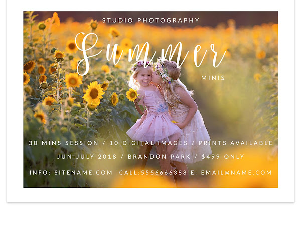 Free Summer Minis Marketing Board PS Template for Photographers