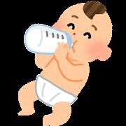 哺乳瓶�ミルクを飲む赤�ゃん�イラスト