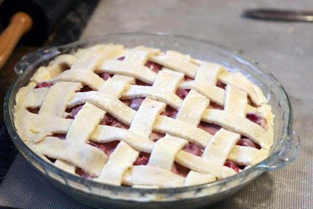 Finished sour cream cherry pie lattice structure from the Duchess cookbook
