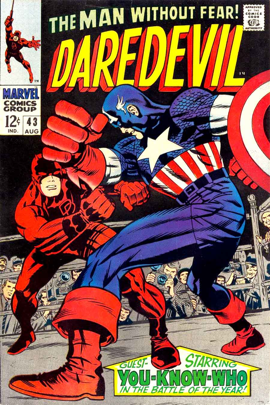 Daredevil v1 #43 marvel 1960s silver age comic book cover art by Jack Kirby