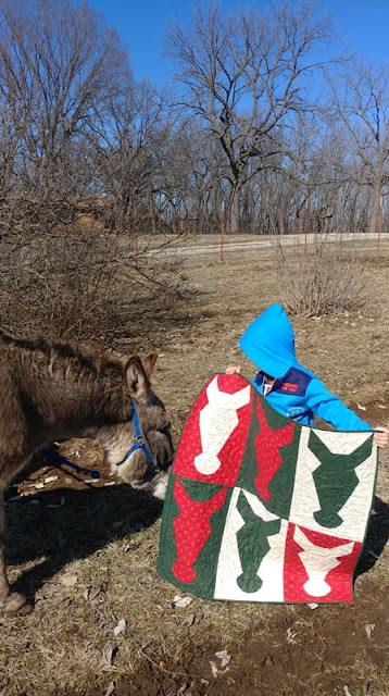 Hee-Haw Christmas donkey quilt by Slice of Pi Quilts