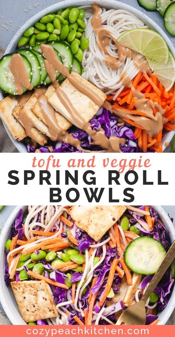 Tofu And Veggie Spring Roll Bowls With Peanut Sauce