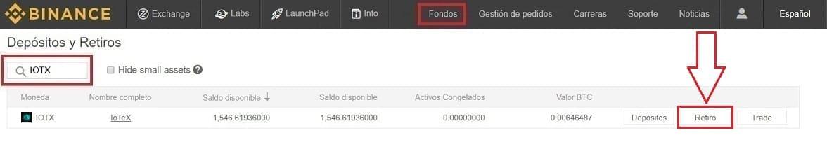 Guardar Criptomoneda IoTeX (IOTX) en Wallet desde Binance