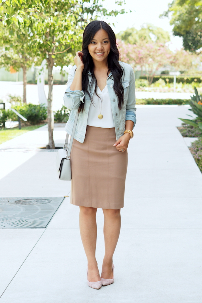 Pencil Skirt + Jean Jacket + White Blouse + Blush Pumps
