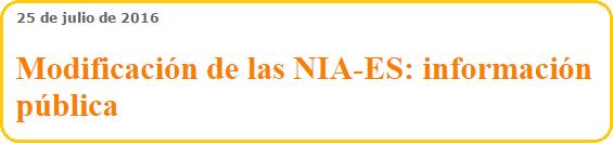 Modificación de las NIA-ES: información pública