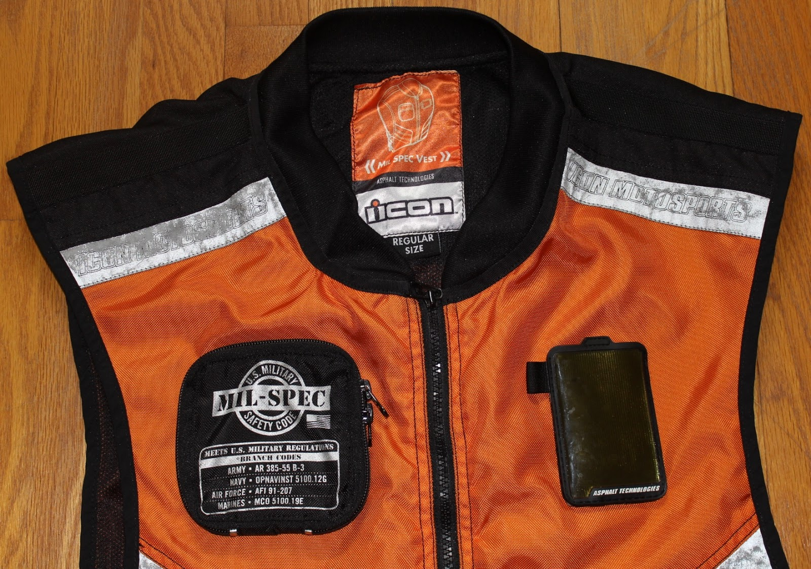 Mens Icon Orange Textile Military Reflective Mil Spec 2 Motorcycle Riding Vest