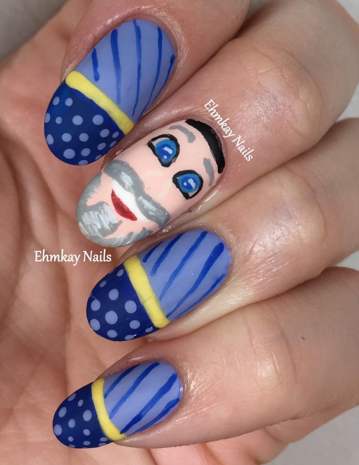 Ehmkay Nails New Year S Eve Nail Art With Kbshimmer Bling: Ehmkay Nails: Mensch On A Bench Nail Art