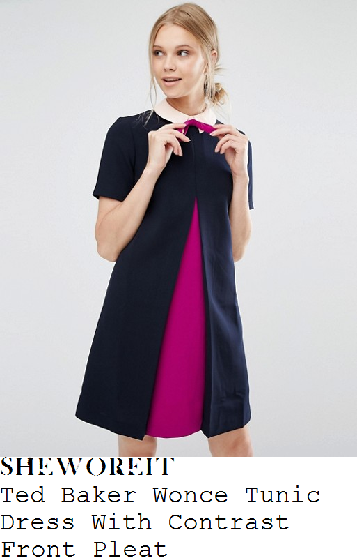 alex-jones-ted-baker-wonce-navy-blue-orchid-purple-and-pale-pink-contrast-colour-block-panel-short-sleeve-collared-bow-and-pleat-detail-a-line-tunic-dress