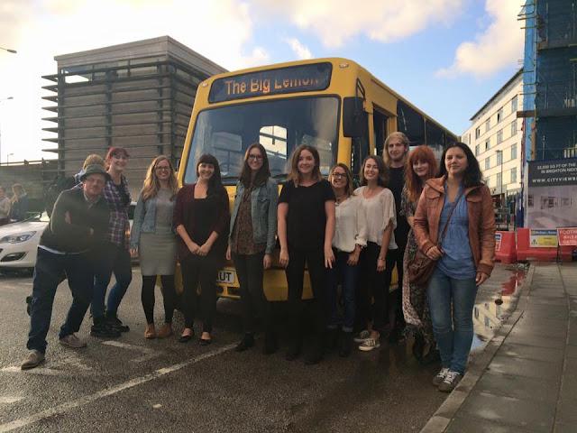 Big Lemon bus and Brighton bloggers