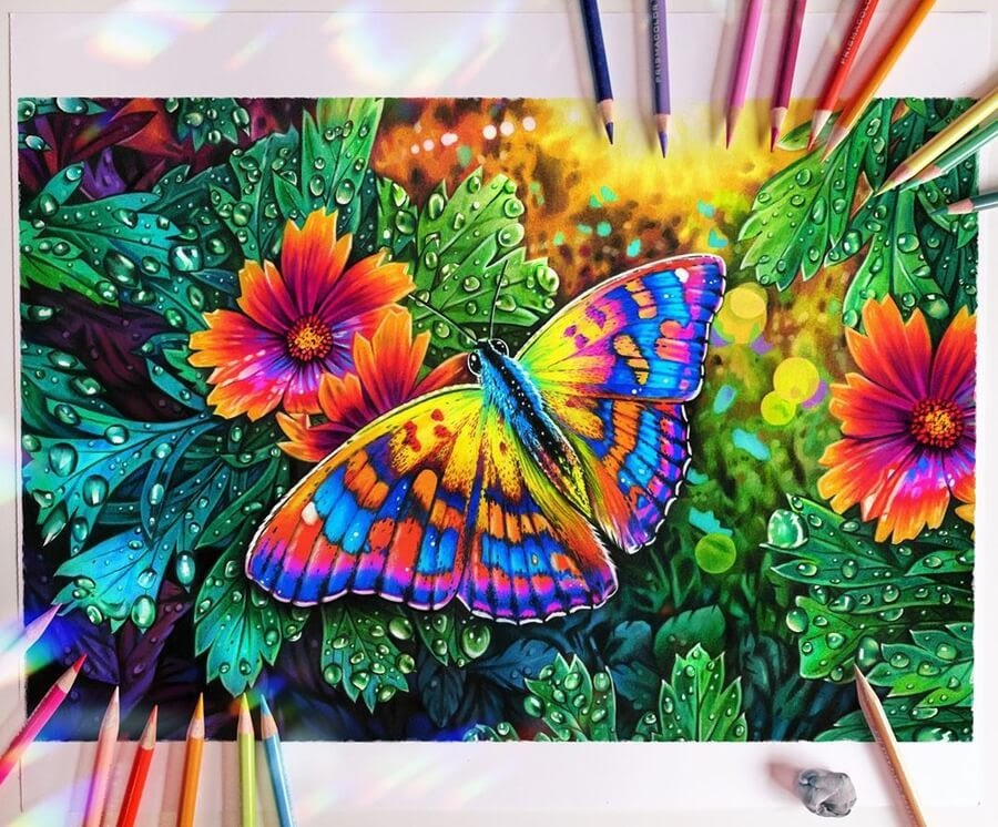 07-Butterfly-and-flowers-Animal-Drawings-www-designstack-co