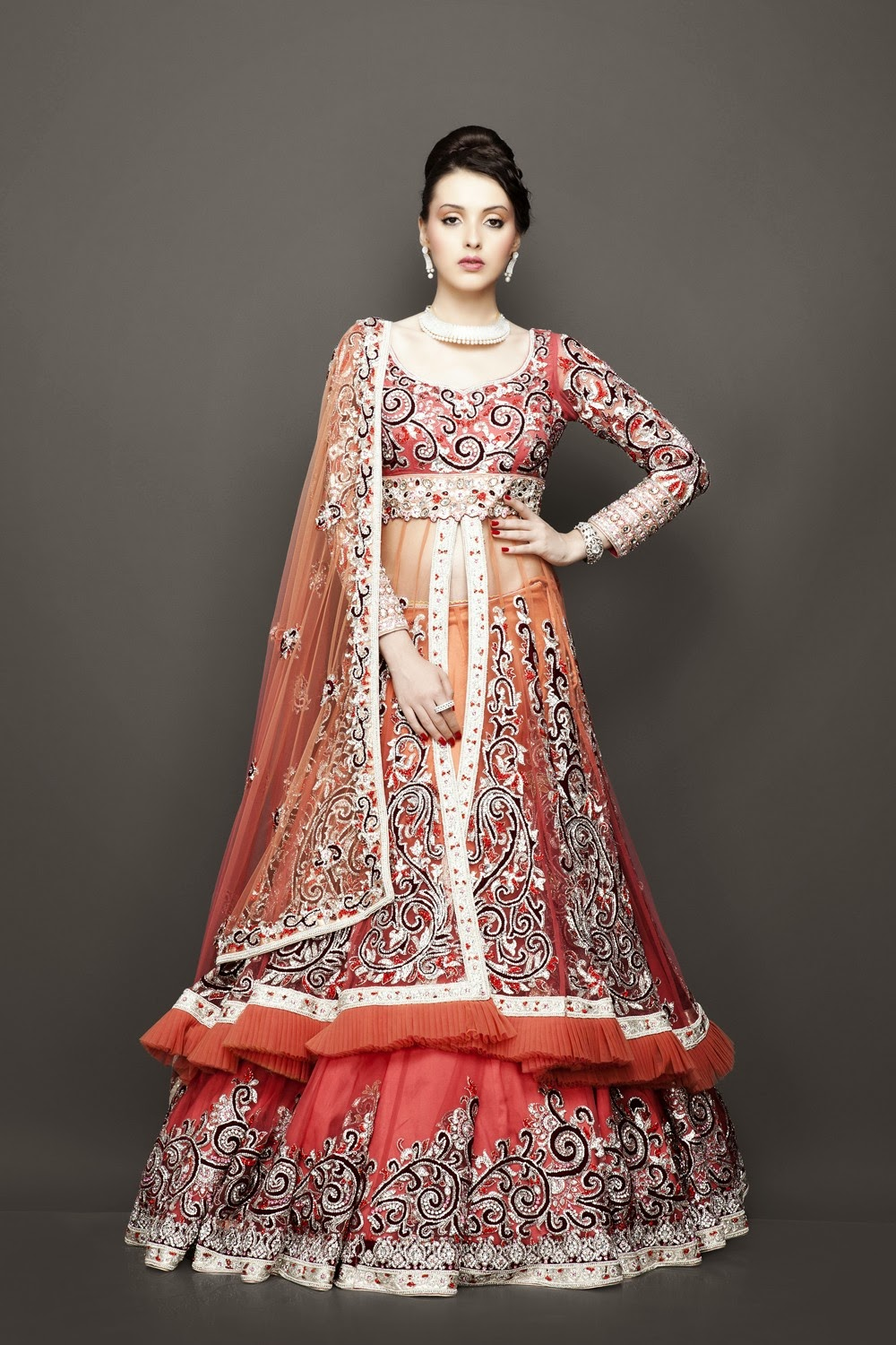 Red and green indian wedding dresses