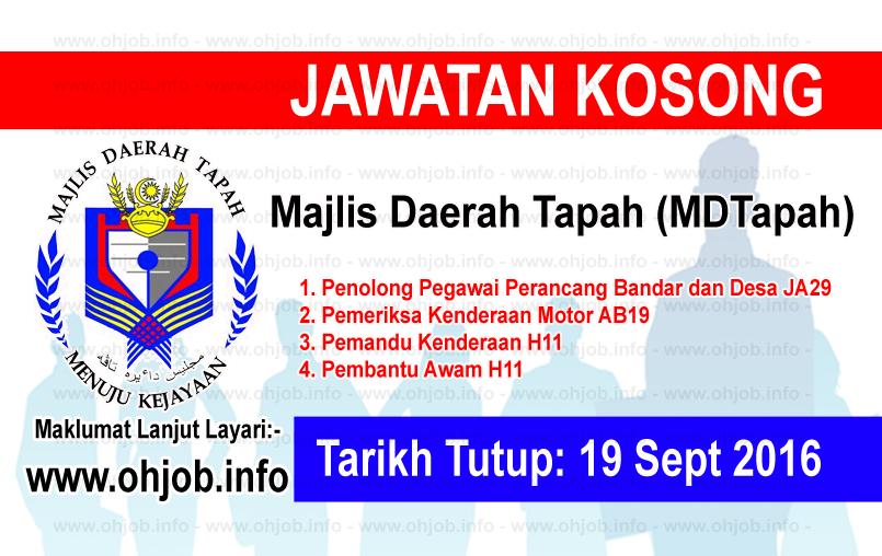 Jawatan Kerja Kosong Majlis Daerah Tapah (MDTapah) logo www.ohjob.info september 2016
