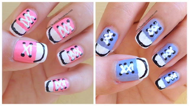 Converse Shoes Nail Art - Step By Step Tutorial