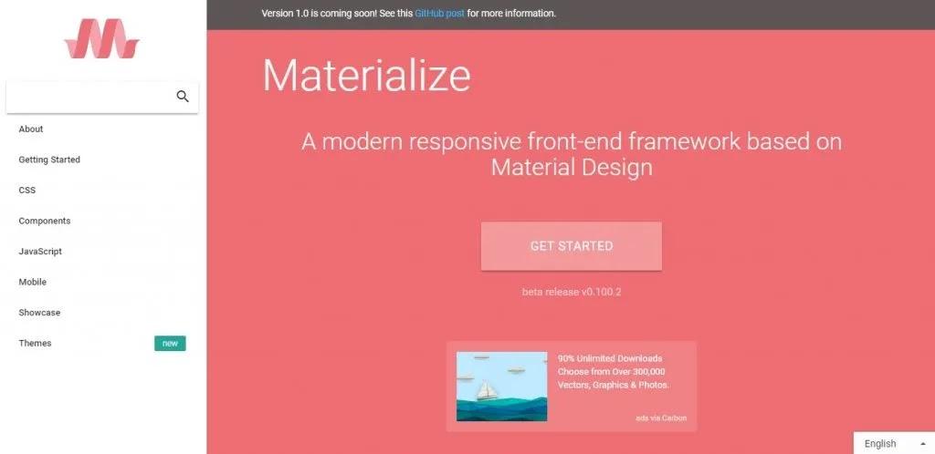 Materialize Framework Css