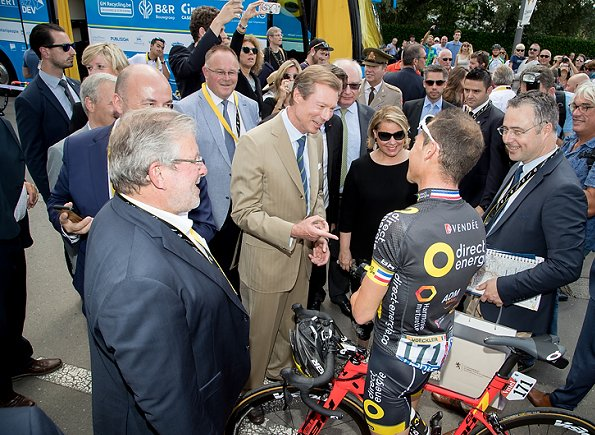 Grand Duke Henri of Luxembourg and his wife Grand Duchess Maria Teresa of Luxembourg started the Tour de France 2017