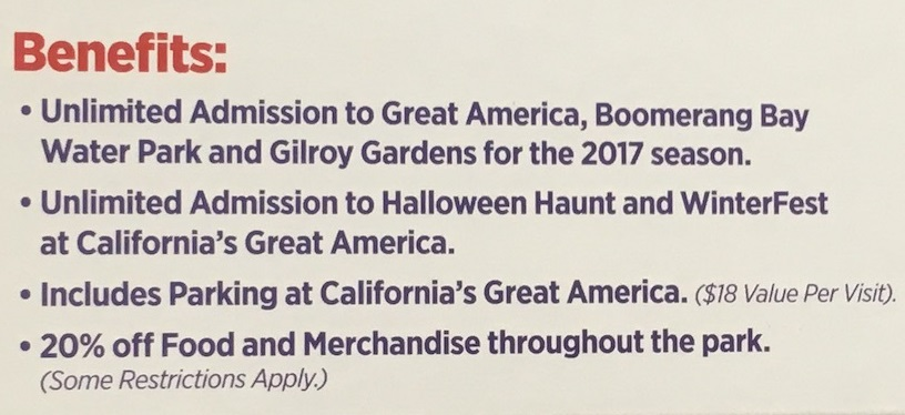 The 2017 Great America Gold Season pass includes free parking