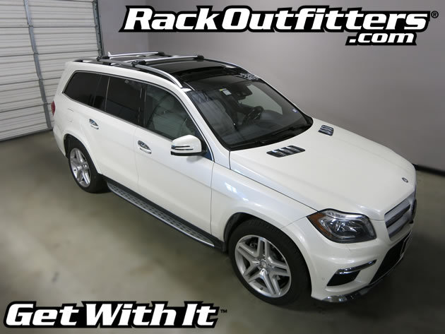 Mercedes gl thule silver aeroblade edge base roof rack 39 13 for Mercedes benz roof box