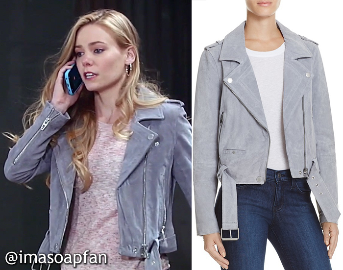 Nelle Hayes, Chloe Lanier, Grey Suede Moto Jacket, Blank NYC, GH, General Hospital, Season 55, Episode 05/12/17