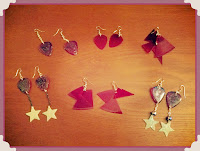 Earrings made from a 45 record, without backing