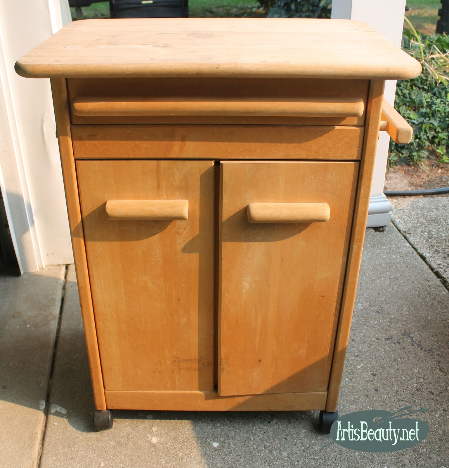 Art Is Beauty Rolling Kitchen Cart Makeover Using Vintage Effects Paint