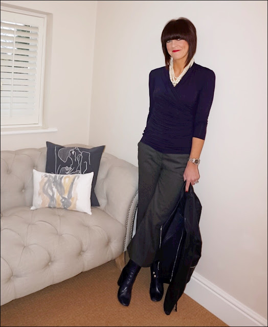My Midlife Fashion, Baukjen Adaline top, j crew twisted hammock pearl necklace, massimo duty navy leather biker jacket, zara wool cropped wide leg trousers, zara block heel ankle boots