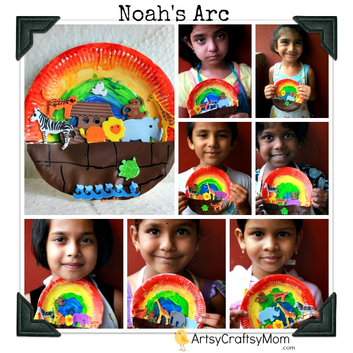 Noah-s-arc-craft-foam-rainbow-paper-plate