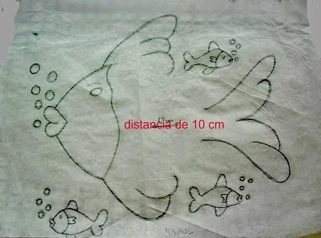 risco de peixe para pintar e colocar o corpinho de croche.