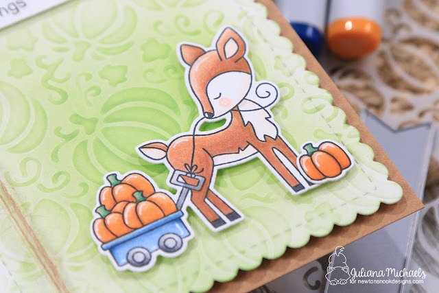 Autumn Greetings Card by Juliana Michaels featuring Newton's Nook Designs Happy Tails Stamp Set