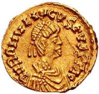 Moneda con la efigie de Augústulo