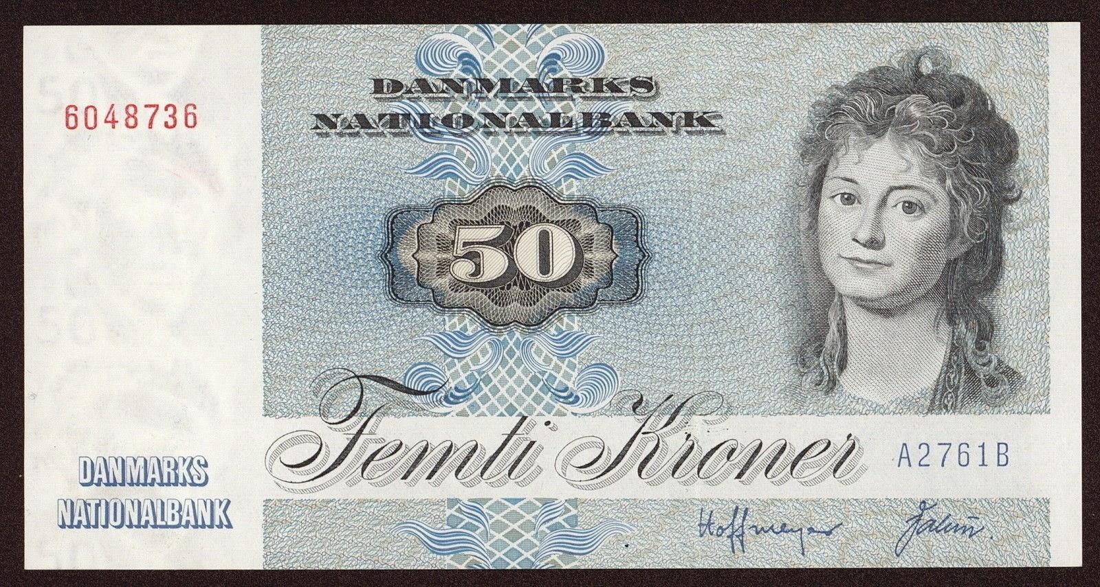 Banknotes of Denmark 50 krone banknote 1972 Engelke Charlotte Ryberg